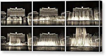 Bellagio Fountain Dance Collage Canvas Print by John Rizzuto