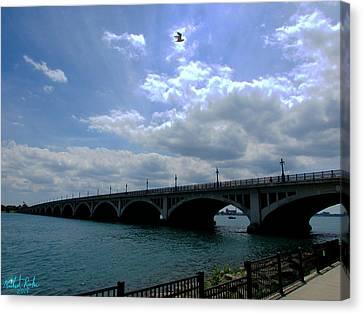 Belle Isle Bridge Detroit Canvas Print by Michael Rucker