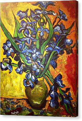 Canvas Print featuring the painting Belle's Pot Of Fiery Irises by Belinda Low