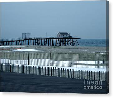 Belmar Nj Boardwalk Canvas Print by Eric  Schiabor