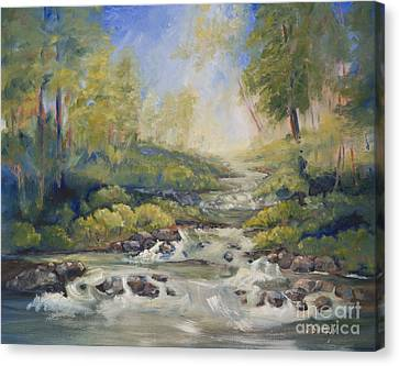 Below Amicalola Falls Painting Canvas Print by Sally Simon