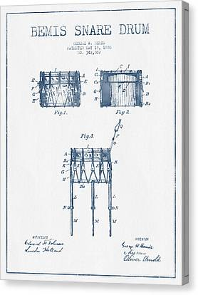 Bemis Snare Drum Patent Drawing From 1886 - Blue Ink Canvas Print by Aged Pixel