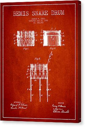 Bemis Snare Drum Patent Drawing From 1886 - Red Canvas Print by Aged Pixel