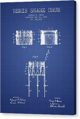 Bemis Snare Drum Patent From 1886 - Blueprint Canvas Print by Aged Pixel