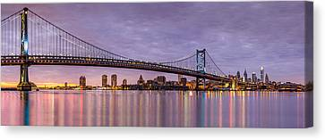 Ben Franklin Canvas Print - Ben Franklin Bridge And Philadelphia Skyline by Mihai Andritoiu