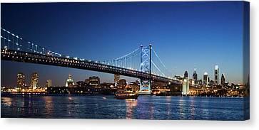 Franklin Canvas Print - Ben Franklin Bridge At Dusk by Panoramic Images