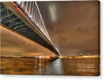 Ben Franklin Bridge At Night Canvas Print by Mark Ayzenberg
