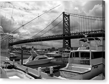 Canvas Print featuring the photograph Ben Franklin Bridge by Dorin Adrian Berbier
