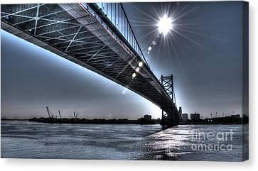 Ben Franklin Bridge Under The Sun Canvas Print by Mark Ayzenberg
