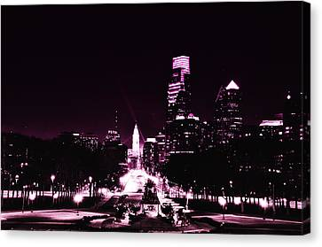 Ben Franklin Parkway In Black And White Canvas Print