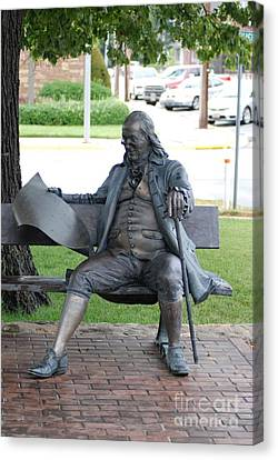 Ben Franklin Statue Canvas Print by Mark McReynolds