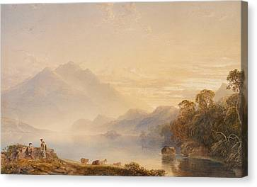 Ben Venue And The Trossachs Seen From Loch Achray Canvas Print by Anthony Vandyke Copley Fielding