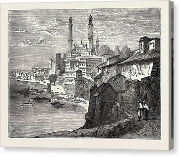Benares, From The Ganges. Varanasi, Also Benares Canvas Print by English School