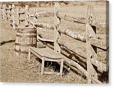 Bench And Barrel Canvas Print