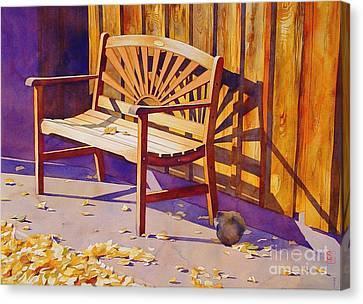 Bench At Sharlot Hall Canvas Print by Robert Hooper