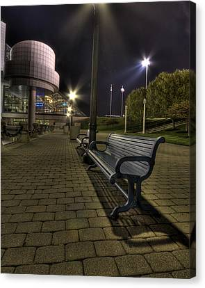 Canvas Print featuring the photograph Bench At The Rock Hall by Brent Durken