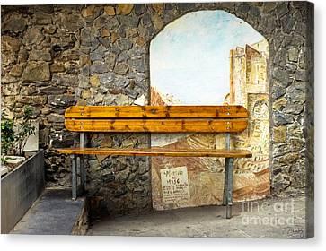 Bench In Riomaggiore Canvas Print