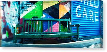 Bench Outside A Building, Williamsburg Canvas Print by Panoramic Images
