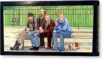 Bench People Series-the Guys  Canvas Print by Betsy Frahm