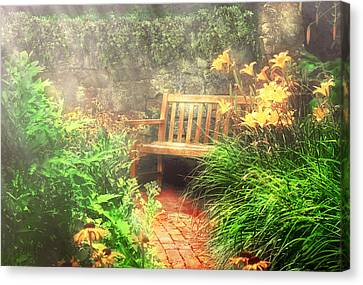 Bench - Privacy  Canvas Print by Mike Savad