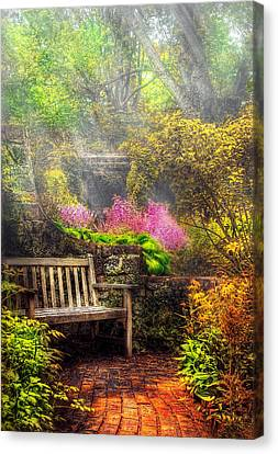 Bench - Tranquility II Canvas Print by Mike Savad