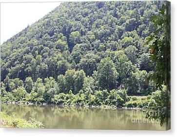 Reflections Of Sun In Water Canvas Print - Bend Of The Delaware Water Gap by John Telfer