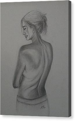 Canvas Print featuring the drawing Beneath The Surface by Jane  See
