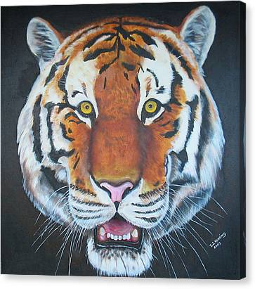 Canvas Print featuring the painting Bengal Tiger by Thomas J Herring