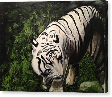 Canvas Print featuring the painting Bengal's White Tiger by Brindha Naveen