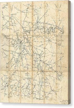 Benjamin F Cheatham Civil War Map Of Nashville And Surrounding Counties  Canvas Print