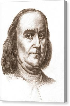 Benjamin Franklin, American Statesman Canvas Print by Spencer Sutton