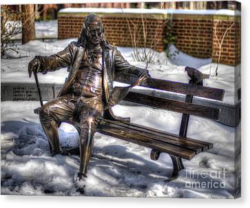 Benjamin Franklin Bench - University Of Pennsylvania Canvas Print by Mark Ayzenberg