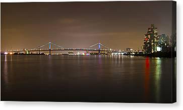Benjamin Franklin Bridge At Night Panorama Canvas Print
