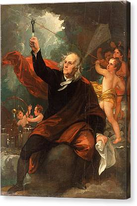 Benjamin Franklin Drawing Electricity From The Sky Canvas Print by Benjamin West