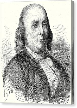 Benjamin Franklin Canvas Print - Benjamin Franklin by English School