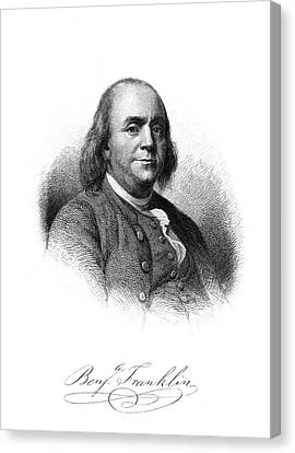 Benjamin Franklin Master Engraving  1879 Canvas Print by Daniel Hagerman