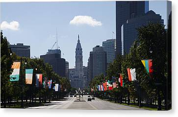 Benjamin Franklin Parkway Flags Of The World Canvas Print by Bill Cannon