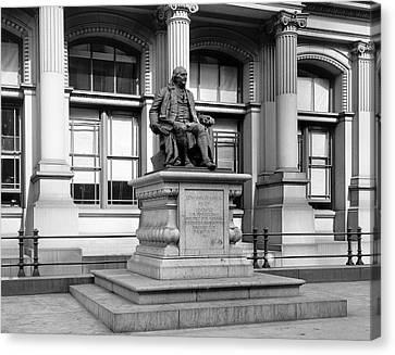 Benjamin Franklin Canvas Print - Benjamin Franklin Statue Philadelphia by Bill Cannon