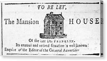 Carousel House Canvas Print - Benjamin Franklin's House by Granger