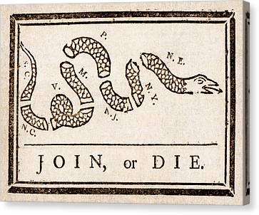 Benjamin Franklin's Join Or Die Cartoon Canvas Print