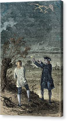 Benjamin Franklins Kite Experiment, 1752 Canvas Print by Science Source