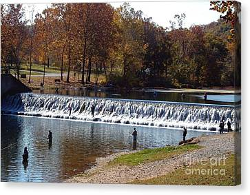 Canvas Print featuring the photograph Bennett Springs Spillway by Sara  Raber