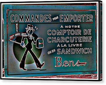 Ben's Deli Restaurant Fameux Comptoir Charcuterie Smoked Meat Take-0ut Montreal Memorabilia Canvas Print by Carole Spandau