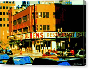 Ben's Restaurant Vintage Montreal Landmarks Nostagic Memories And Scenes Of A By Gone Era Canvas Print by Carole Spandau