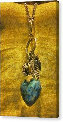 Bensen Turquoise Heart Canvas Print by Lorri Crossno