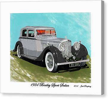 Bentley Sport Sedan 1934 Canvas Print by Jack Pumphrey