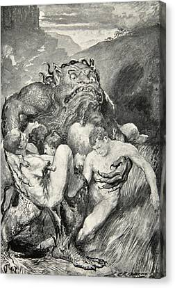 Beowulf Print Canvas Print by John Henry Frederick Bacon