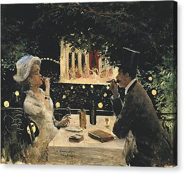 Women With Wine Canvas Print - Beraud, Jean 1849-1935. Dinner At Les by Everett