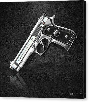 Beretta 92fs Inox Over Black Leather Canvas Print by Serge Averbukh