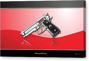 Beretta 92fs Inox Over Red And Black Canvas Print by Serge Averbukh